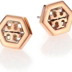Hex stud earrings, 16k rose gold
